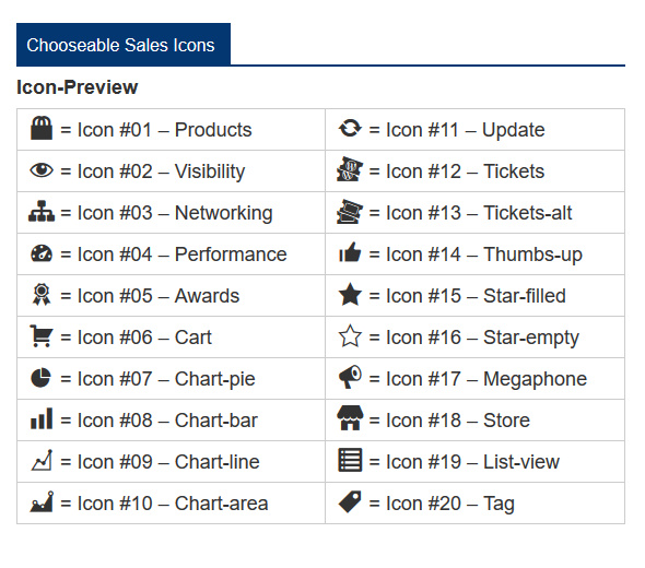 choose from 20 different sales icons