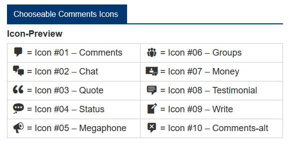choose from 10 different icons for comments